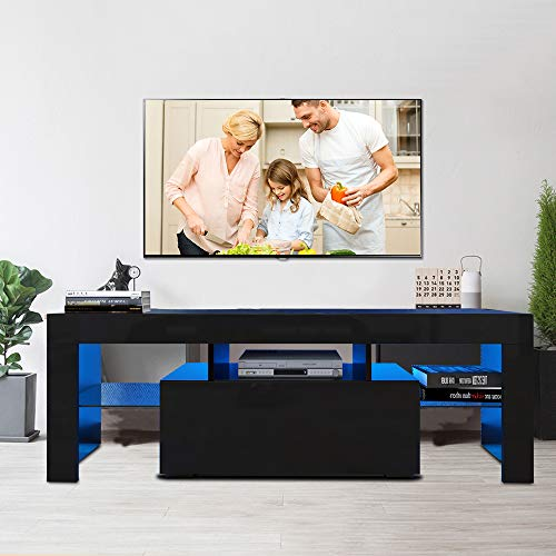 Fohufo Black TV Stand for TV Up to 55-inch TV Screens with Single Storage Drawers TV Cabinet with 12 Color LED Lights Entertainment Center Media Console Table for Living Room Bedroom