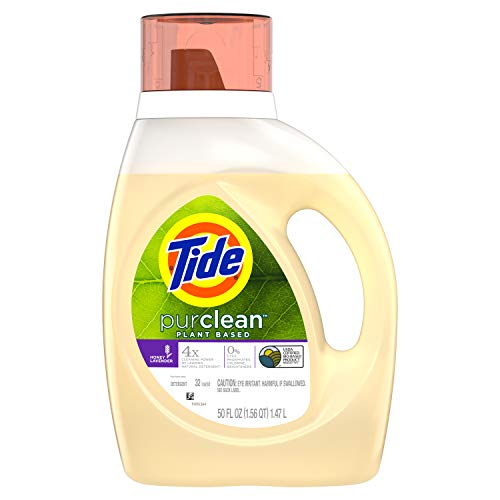 of pure he detergents Tide PurClean Liquid Laundry Detergent for Regular and HE Washers, Honey Lavender Scent, 32 Loads (Packaging May Vary)