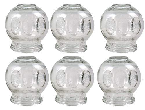 Juego de 6 ventosas de cristal de 9 cm de diámetro y 10 cm de altura (ventosas de fuego) para masaje al vacío/copa de cristal de 9 cm de diámetro.