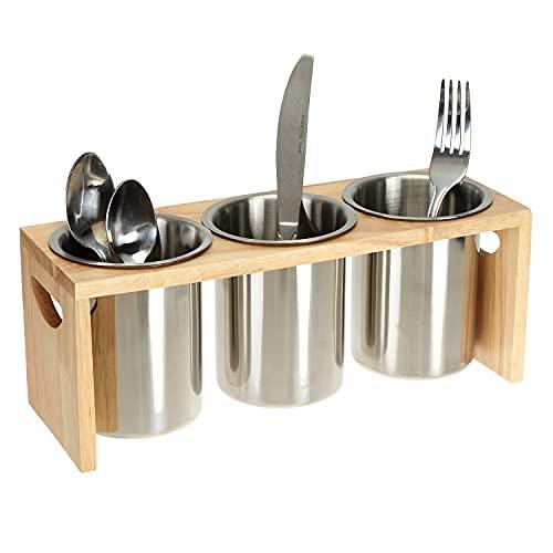 ZOOFOX - Soporte para cubiertos de 3 unidades, acero inoxidable, organizador de utensilios con base de madera, bandeja para cubiertos para cucharas, cuchillos y tenedores, ideal para mesa de cocina, gabinete, despensa