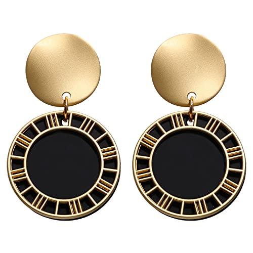 Owenqian Pendientes de Gota Negros Pendientes geométricos de Amor de Estrella de Cristal de corazón para joyería de Mujer