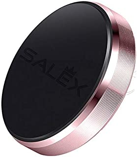 SALEX Cute Magnetic Mount. Flat Cell Phone Holder for [Stick On] Car Dashboard, Wall, Windshield. Universal Kit for Girls, Women. Compatible with Smartphones and GPS up to 7 Inches [Rose Gold/Pink]