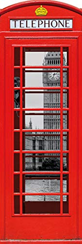 1art1 Londres - Cabina Telefónica Roja con Big Ben Y Támesis, Collage Póster para la Puerta (158 x 53cm)