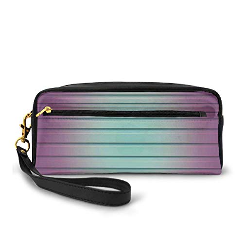 Pencil Case Pen Bag Pouch Stationary,Vivid Artful Digital Style Parallel Lines Striped Textured Contemporary Pattern,Small Makeup Bag Coin Purse