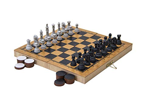 Carlu Brinquedos - Xadrez e Damas Colegial Jogo de Tabuleiro, 4+ Anos, 32 Peças, Multicolorido, 1176