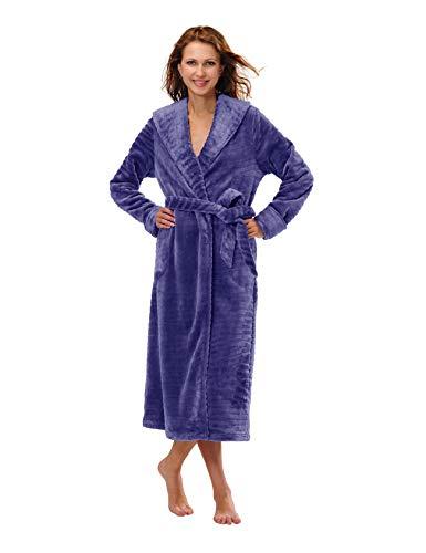 RAIKOU Peignoir Femme Doux en Microfibre Peignoir Robe de Chambre en Polaire Femme Chaud Manches Longues Doux Peignoir de Bain avec Poches et Ceinture (Bleu,S)