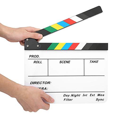 30x25CM Film Clapperboard Fotografie Props Directeur Board Tool voor Rollenspel, Bewerken, Videoproductie, Filmrolletjes, Camera Fotografie(Kleurrijk gestreept wit bord)