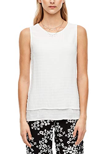 s.Oliver RED Label Damen Layering-Bluse mit Webmuster Offwhite 36