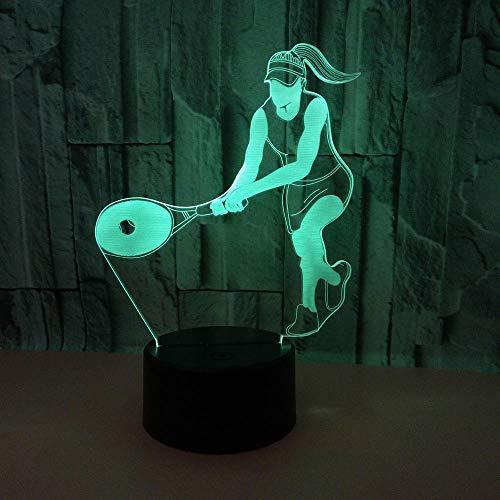 WULDOP Luz Nocturna Infantil Jugando tenis deportes gente Regalo Para Luz De Decoración De Dormitorio Sensor Táctil Led Lámpara De Escritorio De Trabajo Que Cambia De Color