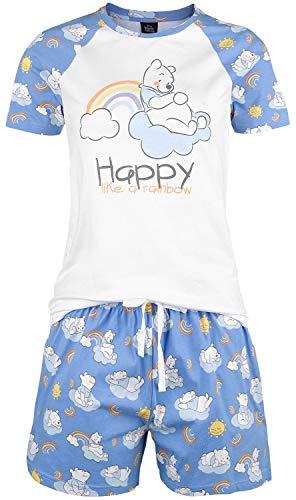 Winnie the Pooh Happy Like A Rainbow Mujer Pijama Azul-Blanco XL, 100% algodón,