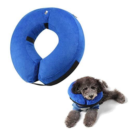 Berg Store Aufblasbarer Halskragen für Haustier Hund Katze Bequemer Schutzkragen Halskrause Recovery Collar mit Verstellbare Reißverschluss für Haustier S- Blau