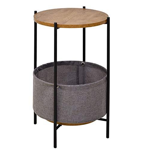 Eenvoudige zijkant/hoek/kleine salontafel/woonkamer ronde smeedijzeren telefoon/bank zijkast zijtafel, klein appartement dubbele plaat rond ontwerp, walnoot kleur