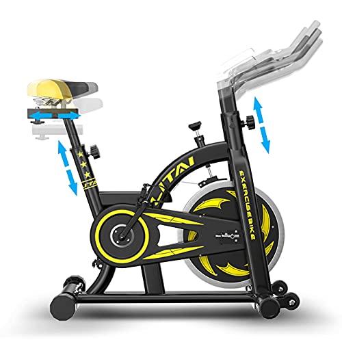 WBYY Bicicleta Estáticas para Fitness, Bicicleta Indoor con Disco De Inercia De 6 Kg, Pulsómetro, Bici Entrenamiento Fitness con Sillín Y Manillar Ajustables,A
