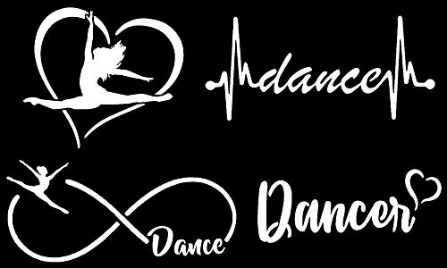 Slaced Dance Decals 4 Pack: Dance Heart, Dance Infinity, Dance Heartbeat, Dancer (White)