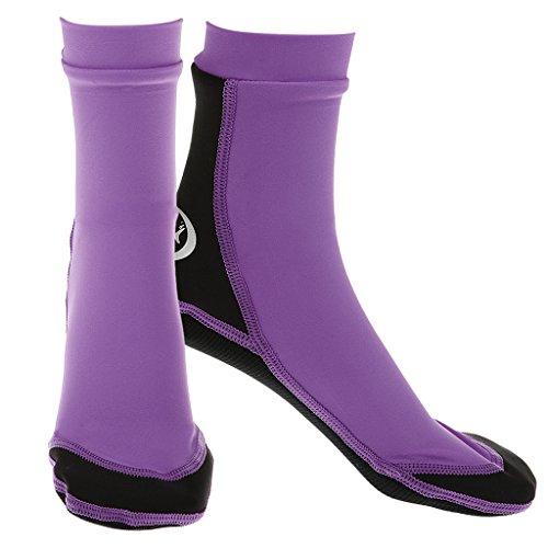 F Fityle Natación Pesca Calcetines Zapatos para Bucear Neopreno Deportes Acuáticos Botas para Practicar Surf - Púrpura L
