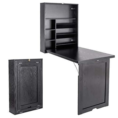 COSTWAY Wandtisch klappbar, Wandklapptisch aus Holz, Bartisch Esstisch Küchentisch, Computertisch Klappschreibtisch Laptoptisch Schreibtisch (schwarz)