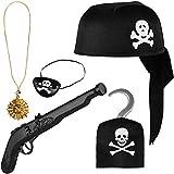 Balinco Piratenset 5-teilig für Kinder bestehend aus Schwarzem Piratenhut + Pistole + Augenklappe +...