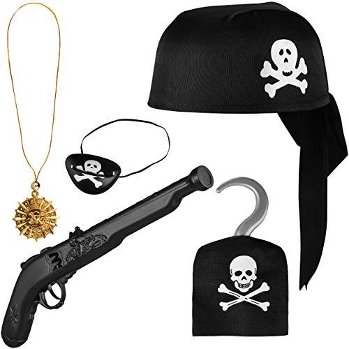 Balinco Piratenset 5-teilig für Kinder bestehend aus Schwarzem Piratenhut + Pistole + Augenklappe + Goldene Kette mit Anhänger + Piratenhaken - Kostüm Set für Fasching / Karneval
