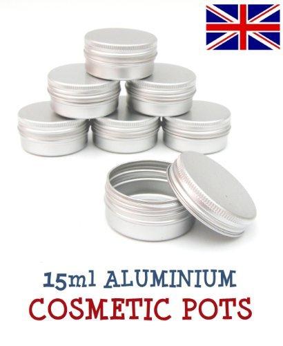 5 x 15ml Aluminium Lip Balm Pots 15ml Capacity Empty Small Mini Cosmetic/Lip Gloss/Nail Art Pots Tins Jars by Avalon Cosmetic Packaging