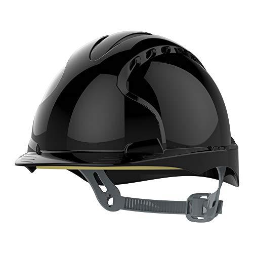 JSP ajf030–001–100EVO2–Casco de seguridad con trinquete, con ranuras de ventilación), color negro