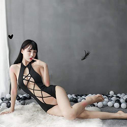 ZZBN Corsés para Mujer Ropa Interior Sexy Más Sexy Traje De Agua Traje De Una Pieza con Espalda Abierta En V Profundo Negro Talla Única