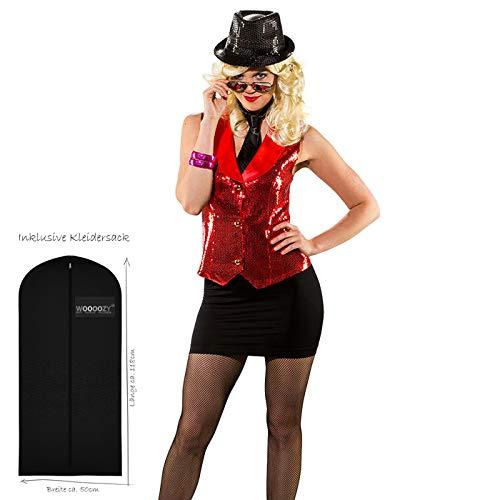 WOOOOZY Damen-Weste Pailletten, rot, Gr. 38-40 - inklusive praktischem Kleidersack
