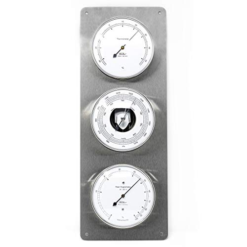 Fischer 806-01 - Außenwetterwarte - Edelstahl-Wetterstation mit Thermometer, Barometer, Haar-Hygrometer Made in Germany
