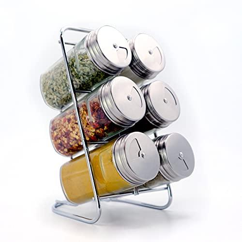 Juego de especias de acero inoxidable con 6 tarros de especias vacíos para guardar hierbas y especias, 6 agitadores de especias de vidrio de 90 ml con un práctico cabezal dosificador