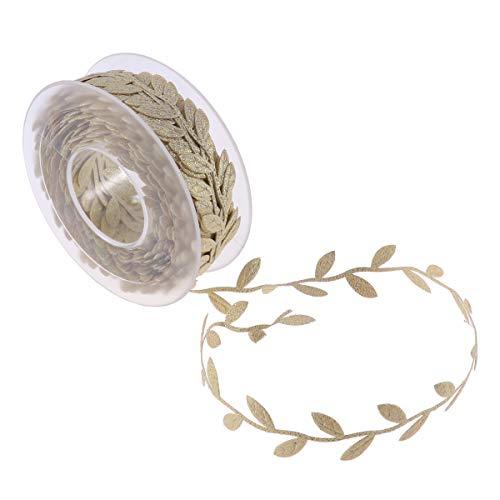 STOBOK Leaves Ribbon Trim Leaf Trim DIY Crafts Garland Party Wedding Home Decorations (Golden) 15M