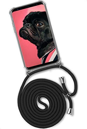 ONEFLOW Handykette 'Twist Hülle' Kompatibel mit Samsung Galaxy S9 Plus - Hülle mit Band abnehmbar Smartphone Necklace, Silikon Handyhülle zum Umhängen Kette wechselbar - Schwarz