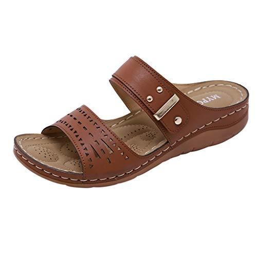 Dorical Damen Mode Sandalen Strass Flip Flops Sommer Pantoffeln Mit Keilabsatz,Zehentrenner Pantoffeln Slippers Schlappen für Frauen Übergroß 35-41 EU(Z3-Blau,39 EU)