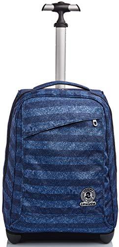 Trolley Invicta , Stripes, Blu, 2 in 1 con Spallacci per uso Zaino