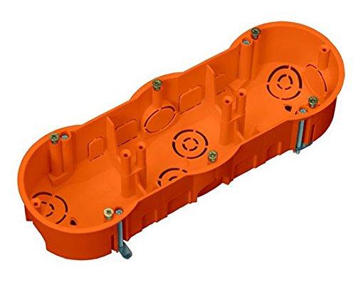 Schalterdose Gerätedose Hohlwanddose Tiefe 46mm Fräsloch 3 x Ø 68 mm mit 6 vormontierten Geräteschrauben 5 Stück