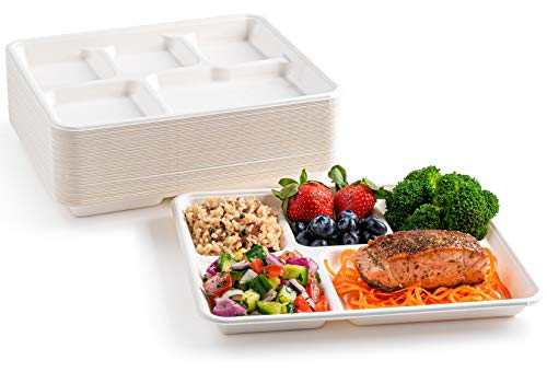 """brheez Eco-Friendly 5 Compartment 8""""x10"""" Disposable School Tray - Made from Bagasse Sugar Cane Fiber - Biodegradable, Compostable & Chemical Free - Pack of 50"""