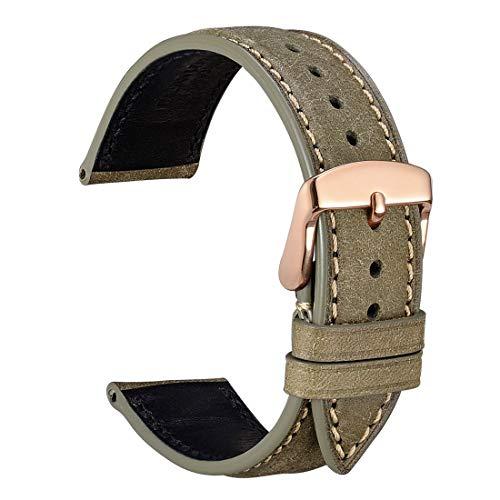 [WOCCI] 20mm時計替えベルト イタリアン革 腕時計バンド マットオリーブグリーン ロースゴールドバックル