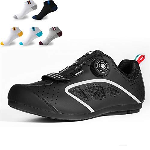 XFQ Zapatos Ciclismo Masculino, Zapatos De Bicicleta Casual Antideslizante No Lock Al Aire Libre del Camino Bicicleta De Montaña Zapatos con 5 Pares De Calcetines Deportivos,Negro,40EU