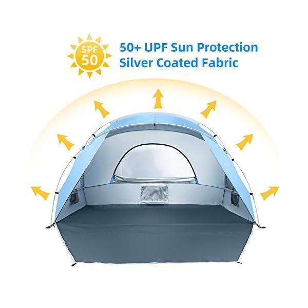 Force 2 a 3 Personas Personas Tienda de Sombra para Acampar en la Playa, UPF50 +, instalación Simple Ligera y fácil de… 2