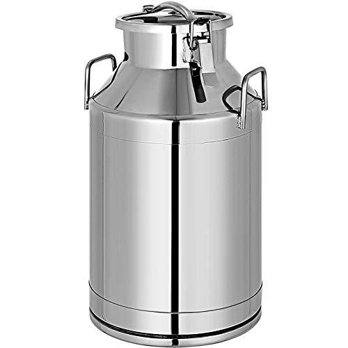 VEVR Bidon à Lait INOX 50L Seau en Acier Inoxydable Épaisseur 1 mm Bidon Huile avec Couvercle Hermétique Récipient Pot à Lait Marmite 2 Boucles de Verrouillage Poignées Portables 190x350 mm
