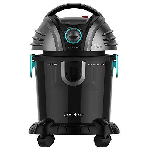 Cecotec Aspirador de sólidos y líquidos Conga Wet&Dry TotalClean Potencia 1400 W, Capacidad 15 litros, 7 Metros Radio de acción, 5 Accesorios