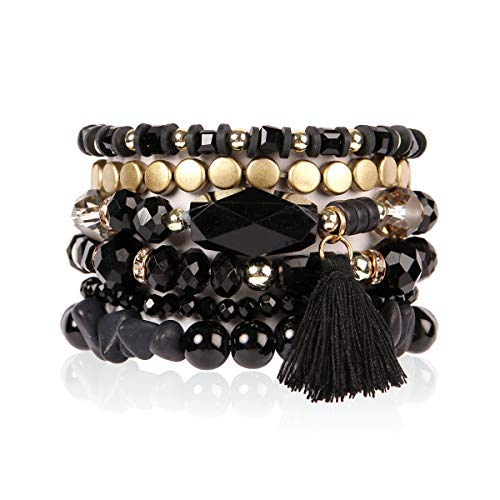 RIAH FASHION Coin Bead Multi Layer Versatile Statement Bracelets - Stackable Beaded Strand Stretch Bangles Sparkly Crystal, Tassel Charm (Black)