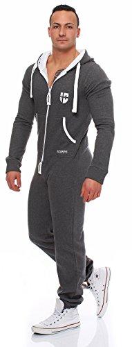 Gennadi Hoppe Herren Jumpsuit Onesie Jogger Einteiler Overall Jogging Anzug Trainingsanzug Slim Fit,grau,Large