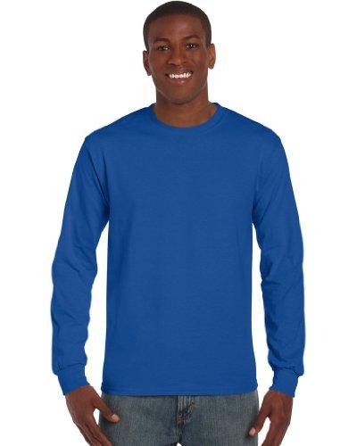 Gildan – Camiseta de algodón manga larga azul azul cobalto Small