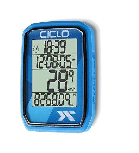 CICLO PROTOS 205 drahtloser Fahrradcomputer, in blau, mit 5 automatischen Funktionen