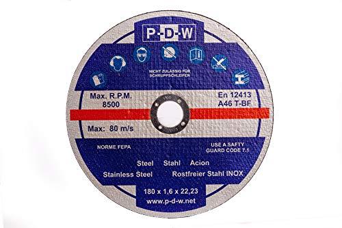 10 discos de corte de acero inoxidable para amoladora angular o de corte – 180 mm de diámetro del eje/acero inoxidable / discos flexibles