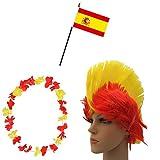 Sonia Originelli Fan-Paket-4 WM Fußball Irokese Perücke Hawaiikette Flagge Party Farbe Spanien