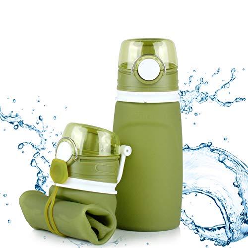 TROIKA Botella de silicona plegable | Capacidad: 550 ml | Enrollable y antigoteo | Para deportes al aire libre, escuela y camping | Sin BPA | Silicona de grado médico | Color: Verde