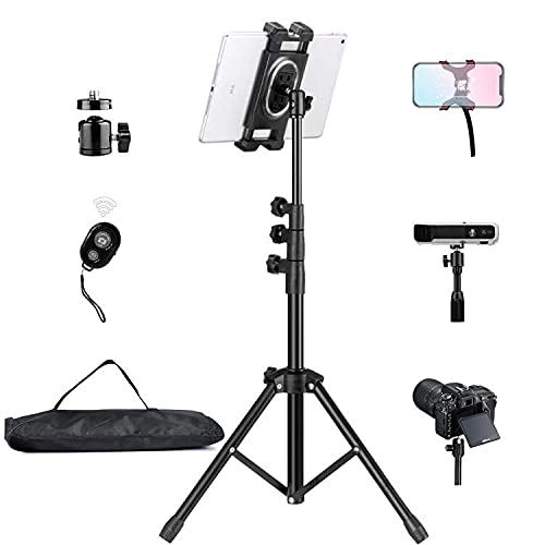 """Tripod Floor Stand for iPad Pro/iPhone/Projector/DSLR NUPod Aluminum Lightweight Max Height 68"""" w. 360° Ball Head & Cellphone Holder & Remote for Phones, iPad Pro, Suface Pro, NUStand etc."""