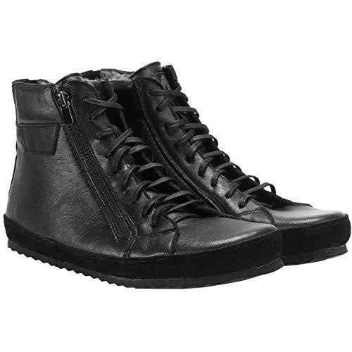 Magical Shoes Alaskan Winter Barfußschuhe | Damen | Herren | Jugendliche | Zero Drop | Flexibel | Rutschfest | Ziegenleder | Warm, Größen:45/288mm, Farbe:Schwarz