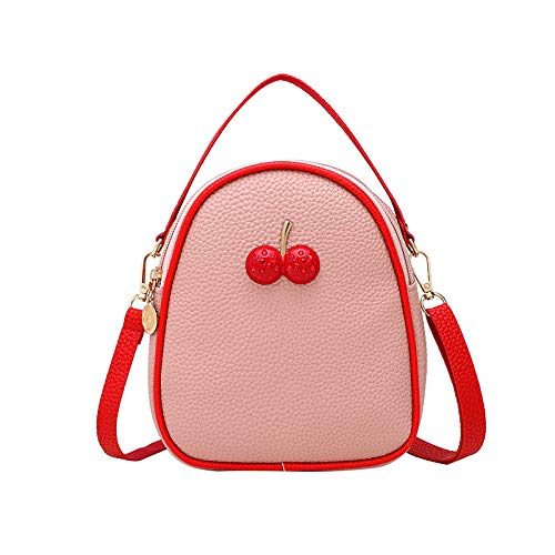 Mochilas De Viaje Con Diseño De Lichi Cereza Mochilas De Cuero De Pu Bolsas De Hombro Para Mujer 1 X Mochila Rosa - Yin Tao