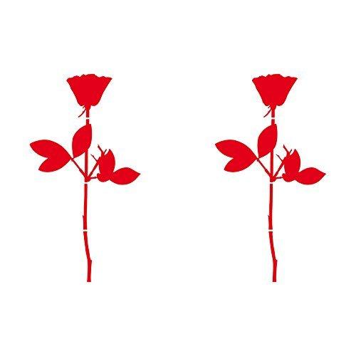 GreenIT Rose 10cm Auto Fenster Spiegel Aufkleber Tattoo die Cut Decals Vinyl Selbstklebende Deko Folie Depeche Mode (2 Stück rot)